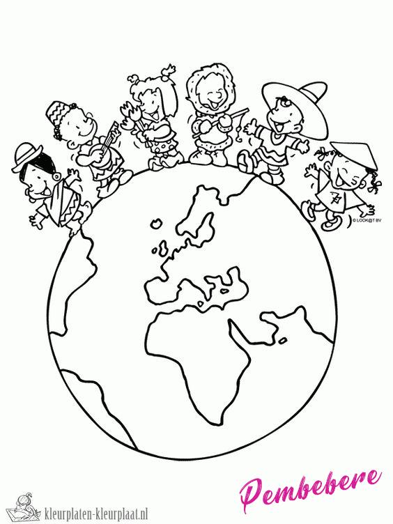 Dünya çocuk Günü Okul öncesi Boyama Sayfaları