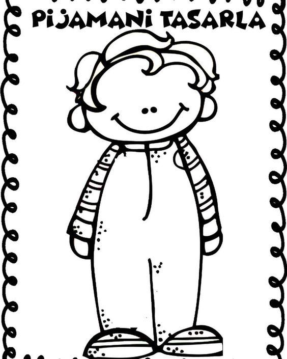 Bijamalı çocuklar Pijamanı Tasarla Okul öncesi Boyama Sayfaları
