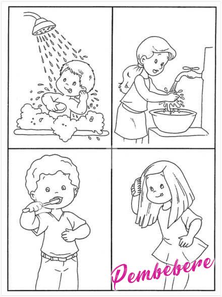 Temiz Olalım Duş Allalım Okul öncesi Boyama Sayfaları